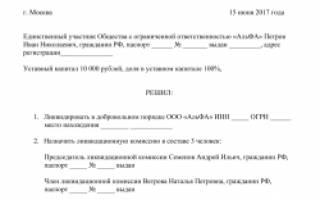 Приказ о назначении ликвидатора ООО образец
