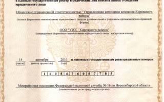 Свидетельство о государственной регистрации ООО образец