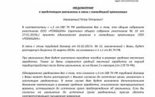 Уведомление сотрудников о ликвидации предприятия образец