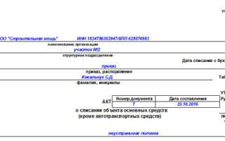 Акт ликвидации основных средств образец заполнения