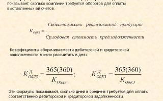 Коэффициент оборачиваемости кредиторской задолженности формула по балансу
