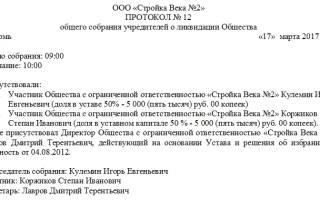 Протокол решение о ликвидации ООО образец